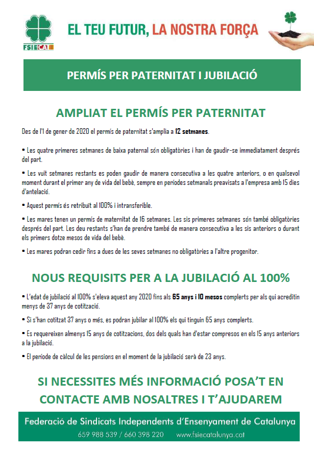Permís paternitat i requisits jubilació 2020